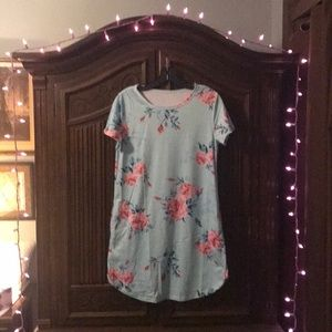 Dresses - Simple Sweet Rose-Patterned Dress w/ Pockets